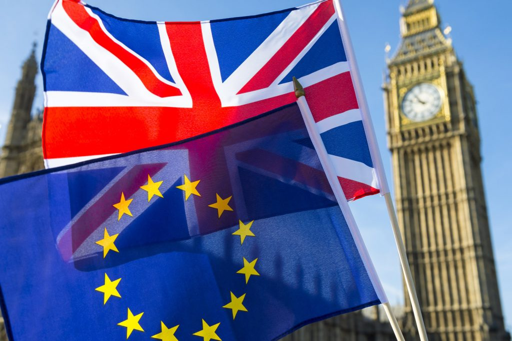 European Union and British Union Jack flag flying in front of Big Bang