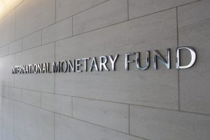 International Monetary Fund logo on wall